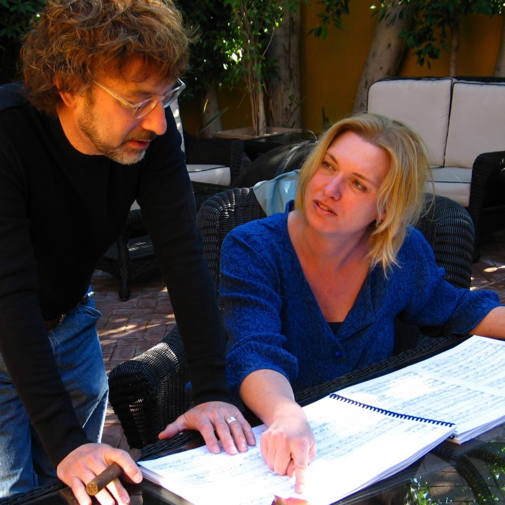 Christel Veraart in the music studio with Arthur Payson